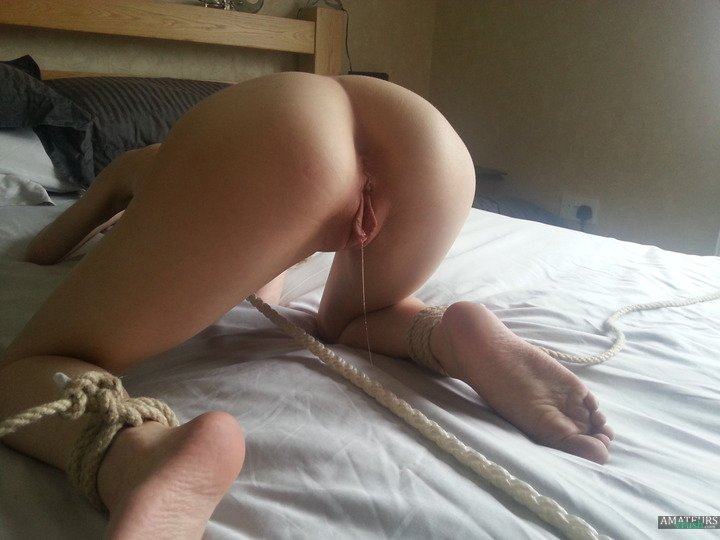 Teen grool while bending over and all tied up
