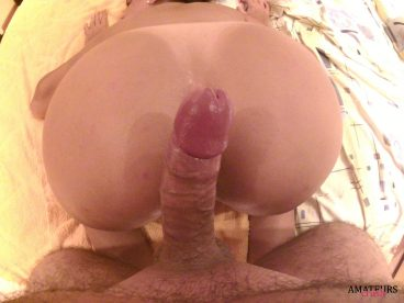 boyfriend teasing his girlfriend with his cock against her butt crack while she's bending over - amateur sex pics