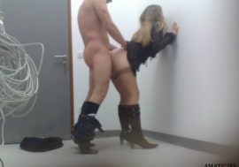 hubby pounding his wife in her workplace backroom