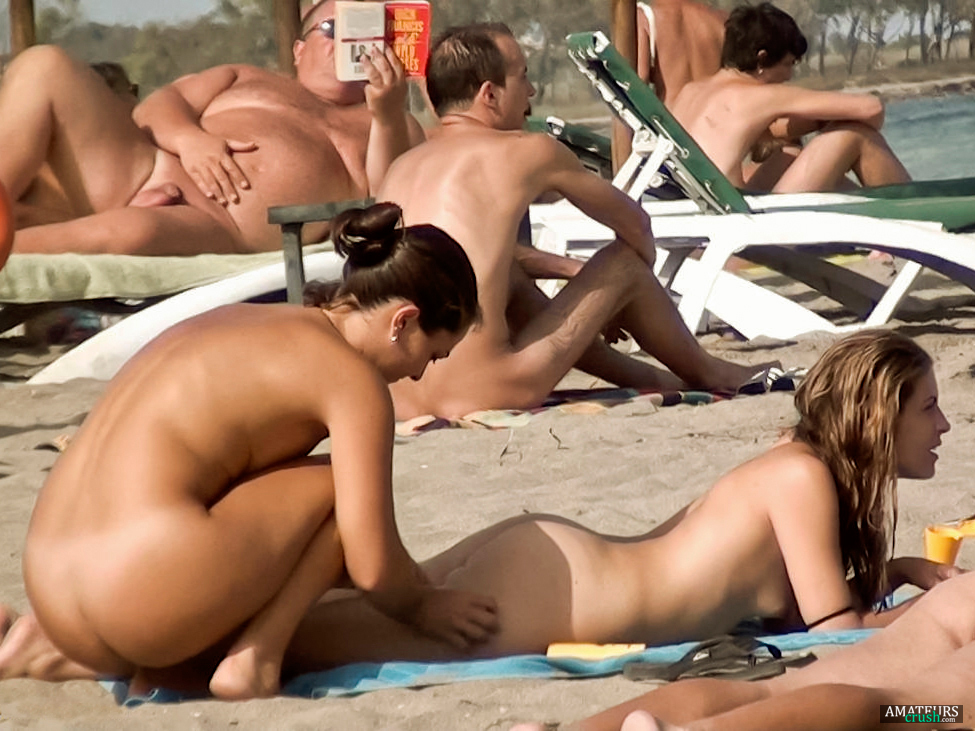 Beach butt naked woman