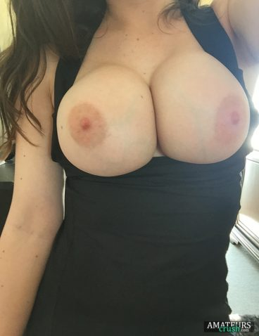 Lovely big breast out of dress selfie