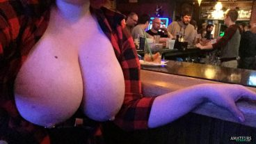 Girlfriend at bar being risky and flashing her big boobs in public
