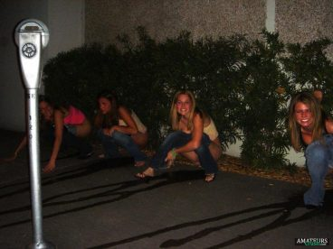 girls peeing in public caught on a drunk night out from college