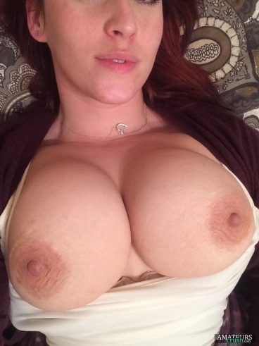Large breasts pics of ex-gf with her tits out of her white top