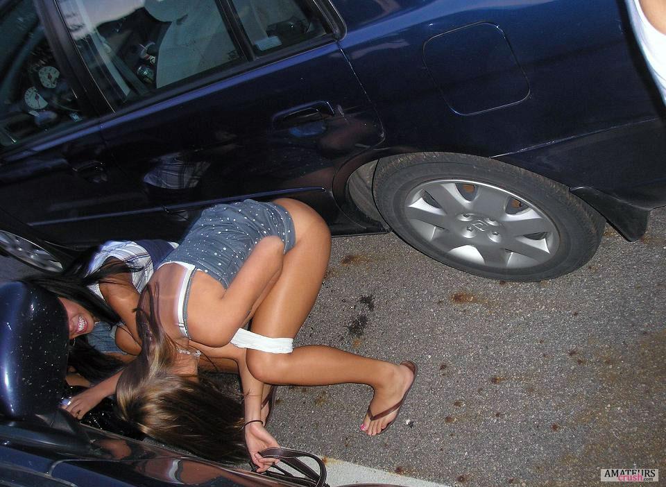 teens peeing behind the car while being drunk