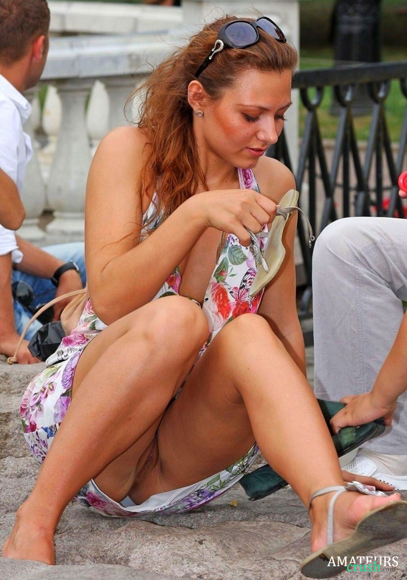 Women accidental upskirt