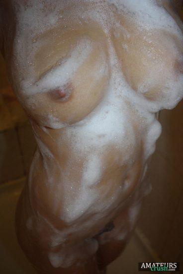 Soapy big boobs shower selfie of EX-GF
