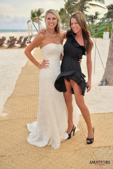 bridemaid taking a picture with the braid while having a oops upskirt showing her panties