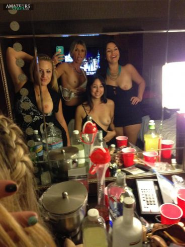 Flashing boobs with besties in front of mirror selfie
