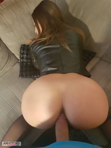 Bent over girlfriend in leather jacket getting ass fucked