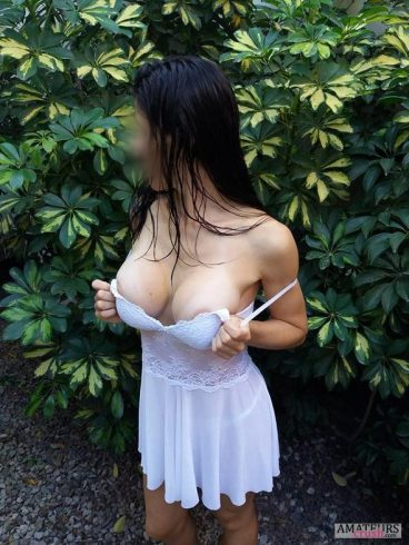 Ex Girl about to flash her big tits to tease
