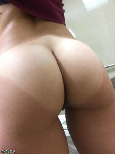 Close up selfie of big ass with a little bit of hot rear pussy from real nurse