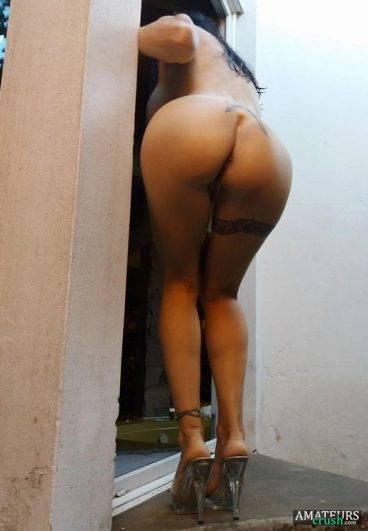 Girl bent over big ass in high heels pic