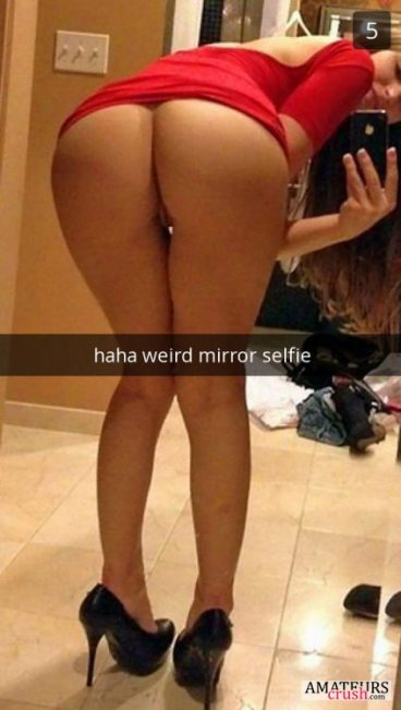 Weird mirror selfie by bending over with no panties