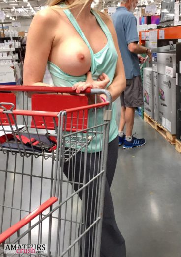 Public flashing of big boob while shopping