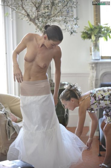 Bridal nude tits on big day putting on wedding dress