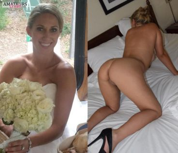 Bent over wife showing curvy ass in bridal nude wedding dress on and off picture