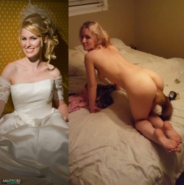 Wedding dress on and off with nude brides and her fox tail butt plug while bending over ass