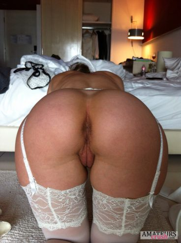 Naked brides bent over pussy from behind while wearing hot white sexy stockings