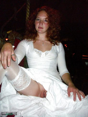 Real natural redhead bride flashing her pussy underneath her wedding dress