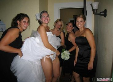 Naughty bridesmaids flashing bride to be white sexy thong pic
