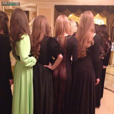 Naughty and slutty bridesmaids showing tight bubble butt ass with no panties in her dress