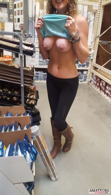 Public tits flashing while shopping