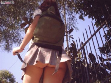 Sexy schoolgirl upskirt of bubble ass teen