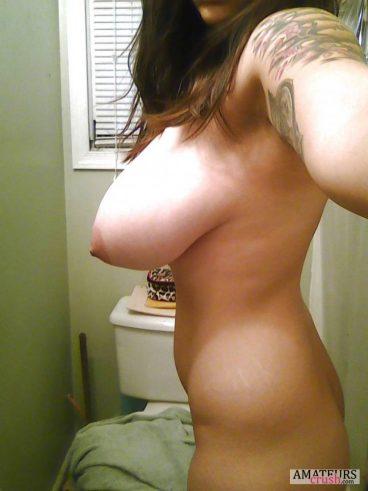 Selfie of big torpedo titties ready to fire down
