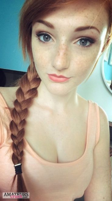 sexy redhead teen selfie with braids