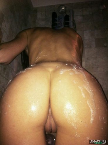 soapy rear pussy view of wet dripping soapy babe