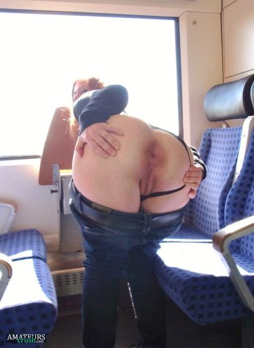 Public ass flashing in train bent over with panties aside