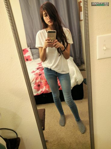 White shirt and tight jeans on sexy teen selfie