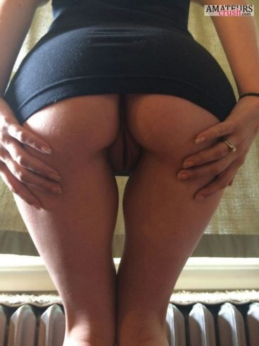 Big butt showing juicy rear pussy in upskirt no panty