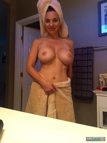 HOT wife finished showering with her towels