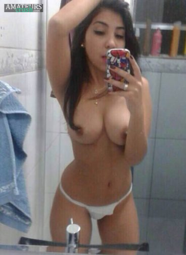 Selfshot of busty petite with her big breast