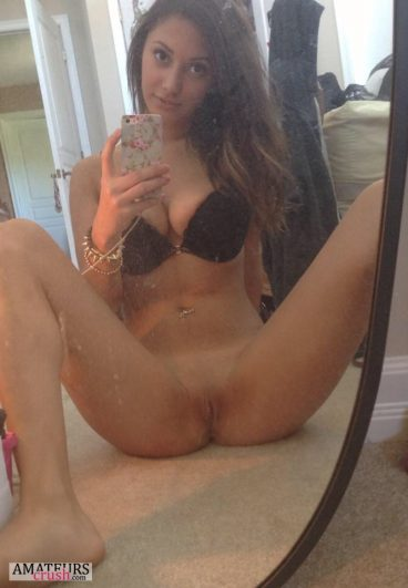 College girl with no panties on taking mirror selfie wearing her black bra