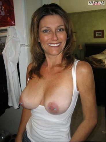 Pierced nipples in boobs out top of sexy mom