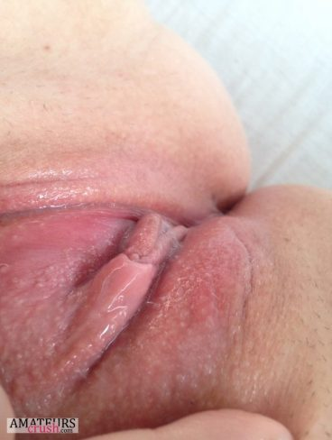 Wet pussy juices puddle upclose