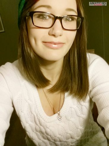 Sexy college girls with glasses making hot selfie