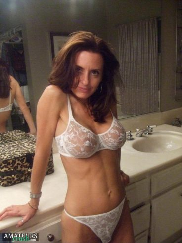Sexy mature mom in white lingerie with see-through pussy and titties