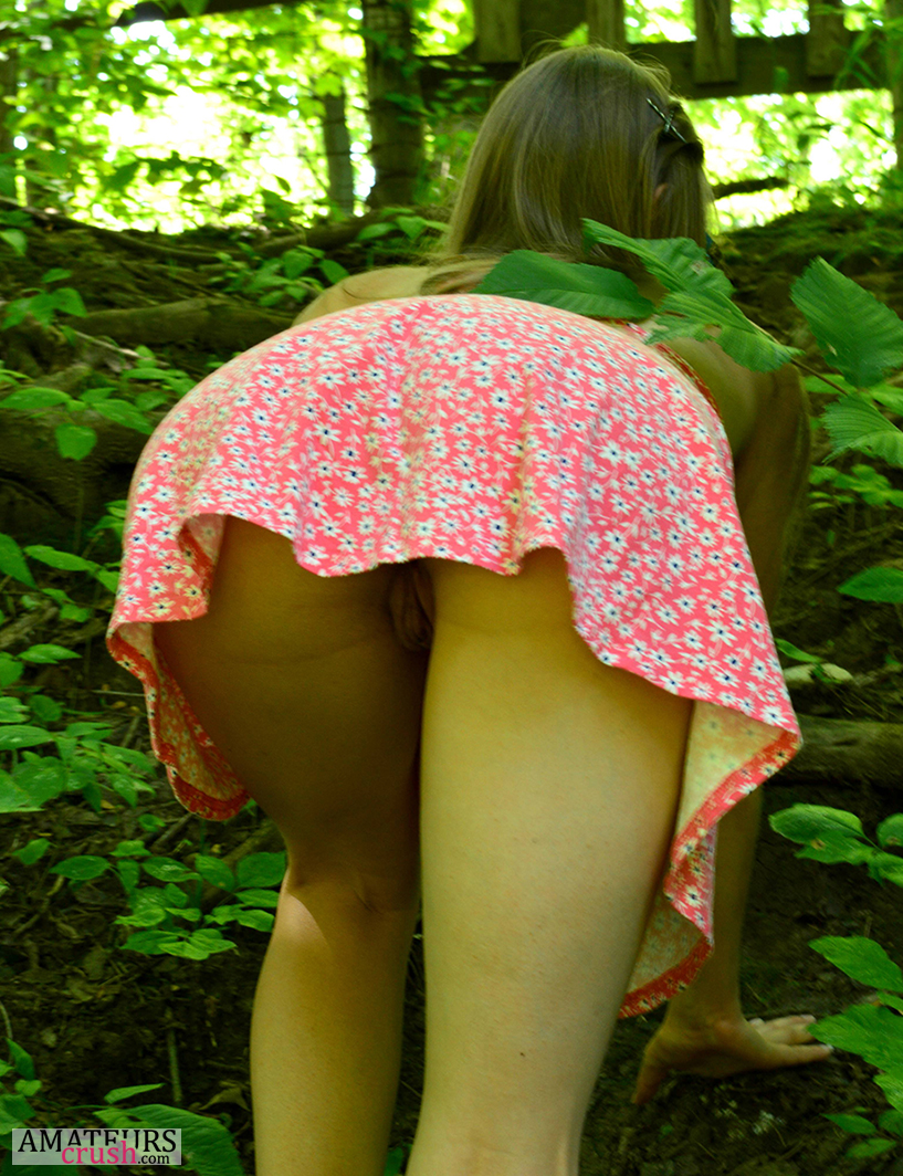 Teen in skirt bent over showing pussy, big black ass deep photos