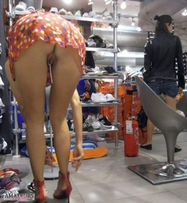 Shoe shopping with GF while bent over ass in public upskirt no panties pic