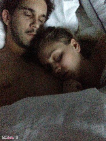 Sleeping selfie of celeb couple in bed