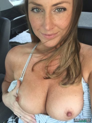 Tits out selfie with hot mom grabbing her boobs