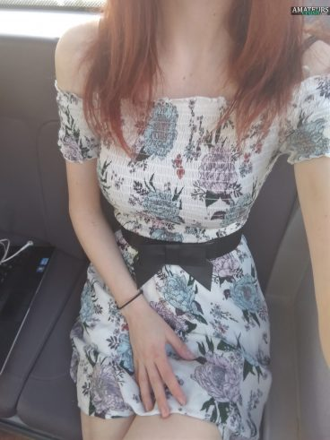 Selfie of hot college girl in dress on public bus