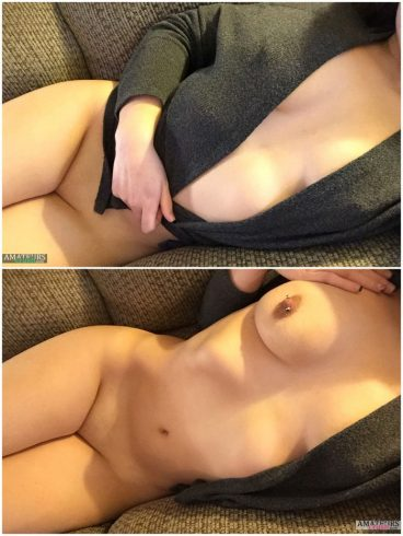 Amateur flashing her sexy naked body on couch