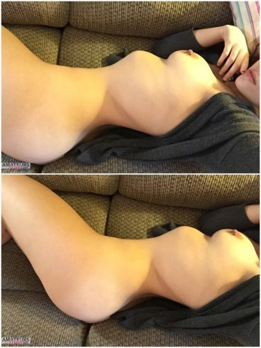 Cute curvy amateur showing her nude body on couch in selfie