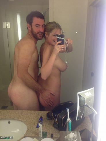 Leaked Kate Upton Nudes with Justin selfie in bathroom