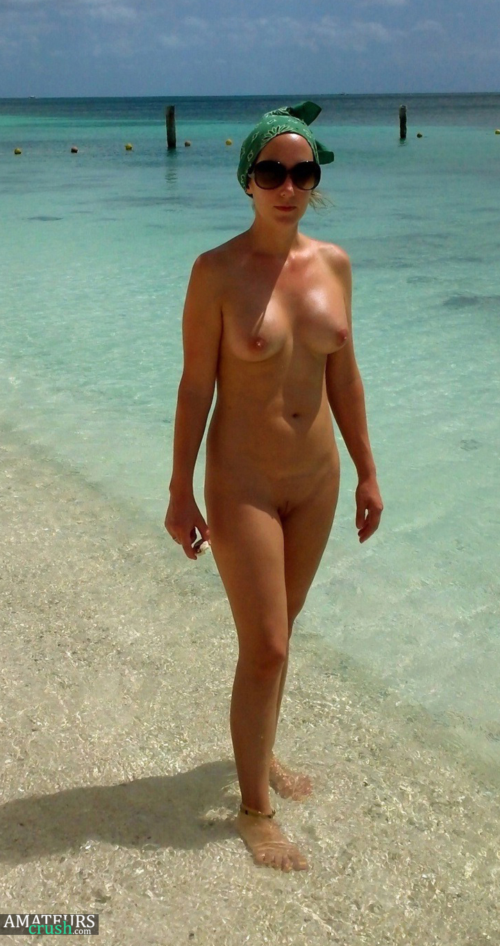 Naked wife on beach